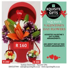 Xquisite Flowers for her!  #flowersforher #valentinesdayflowers #xquisiteflowers #xquisitevalentinesdayflowers  From R160   #dontforgetvalentinesday  0843107944 - sales@xquisitegifts.co.za - www.xquisitegifts.co.za Love Gifts, Valentines Day, Flowers, Valentine's Day Diy, Royal Icing Flowers, Flower, Florals, Valentine Words, Valentines