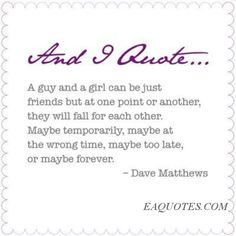 A guy and a girl can be just friends – Dave Matthews