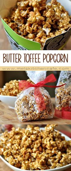 Think Cracker Jacks and multiply the delicious factor by about one million thousand times and you have this delicious, homemade butter toffee popcorn. Homemade Popcorn, Flavored Popcorn, Homemade Butter, Butter Toffee Popcorn Recipe, Carmel Popcorn Balls Recipe, Cracker Jack Popcorn Recipe, Moose Munch Popcorn Recipe, Snack Mix Recipes, Yummy Snacks
