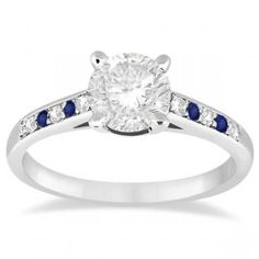 Cathedral Sapphire & Diamond Engagement Ring 18k White Gold (0.20ct) - Allurez.com