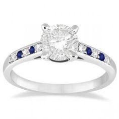Cathedral Sapphire & Diamond Engagement Ring 14k White Gold (0.20ct) - Allurez.com