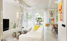 great use of colour in this living room. colourful and fresh