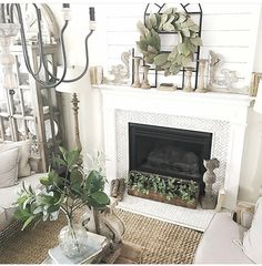 Fireplace Farmhouse Homes, Farmhouse Style, Farmhouse Decor, Country Style, French Country, Fireplace Mantle, Living Room With Fireplace, Fireplace Ideas, Cottage Style Living Room