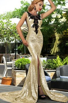 Gold sequin mermaid dress with black embellishment.  Shop online now at www.liverpoolprivatereserve.com