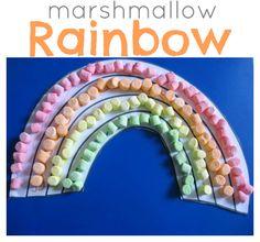 Fun!!  Rainbow craft for kids using marshmallows.