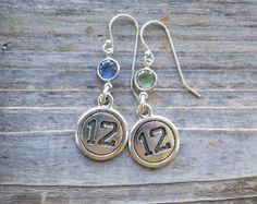 Seahawks inspired earrings / Silver Seattle Seahawks earrings / Swarovski crystal Seahawks earrings
