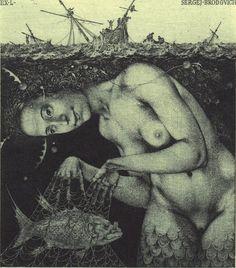 Ex-Libris illustration by Konstantin Kalinovich Ex Libris, Sirens, Illustrations, Illustration Art, Mermaid Song, Art Magique, Mermaids And Mermen, Merfolk, Sea Monsters