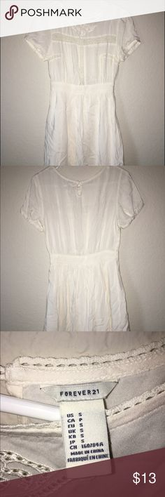 White, soft Forever 21 dress Soft, white lace detailed dress from forever 21, only worn once for easter-super comfortable! Forever 21 Dresses