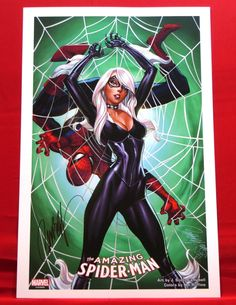 THE AMAZING SPIDER-MAN & BLACK CAT PRINT SIGNED BY ARTIST J. SCOTT CAMPBELL | eBay