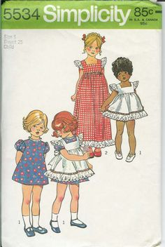 Vintage childrens pinafore and dress Pattern by rosesvintagesewing, $6.00