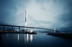 Stonecutters Bridge.  Cable-stayed motorway bridge with dual 3 lanes Hong Kong. Inaugurated in December 2009 Total length: 1592m Main span: 1016m By Danish architect firm DISSING+WEITLING Photo: Wilson Lee -Son Gallery