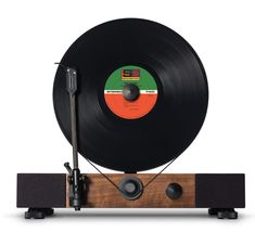 """Floating Record, a high-performance vertical turntable with full-range stereo speakers by Gramovox. This turntable called """"Floating Record"""" has been Best Record Player, Record Players, Built In Speakers, Stereo Speakers, Floating, Audiophile, Turntable, Vinyl Records, Vinyl Music"""