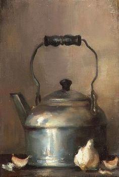 still life quick heart — Magda Almy The Chrome Kettle 2006 Still Life Drawing, Painting Still Life, Still Life Art, Painting & Drawing, Watercolor Paintings, Oil Paintings, Watercolors, Realistic Paintings, Still Life Photography