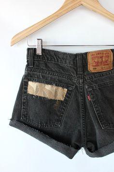 Vintage 80s Black Denim High Waisted Levi Shorts // Woven Pocket Cut Offs. $34.00, via Etsy.