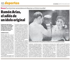 Murió Ramón Arias, el primer venezolano en competir en un Mundial de Boxeo. Publicado el 19 de junio de 2007.
