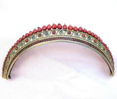 Regency Tiara Gilt Metal with Faceted Coral Beads Hair Accessory from spanishcomb on Ruby Lane $900