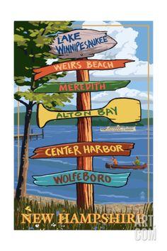 Lake Winnipesaukee, New Hampshire - Signpost Destinations Art Print by Lantern Press at Art.com
