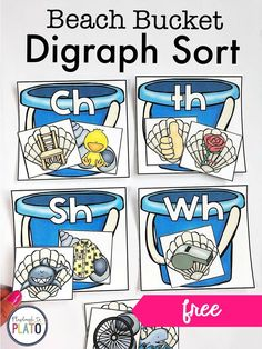 Beach Bucket Digraph Sort is a fun, simple activity for centers or small groups to practice digraphs- /ch/ /th/ /sh/ and /wh/ Reading Practice, Teaching Reading, Fluency Practice, Reading Intervention, Reading Strategies, Reading Comprehension, Teaching Phonics, Phonics Activities, Jolly Phonics