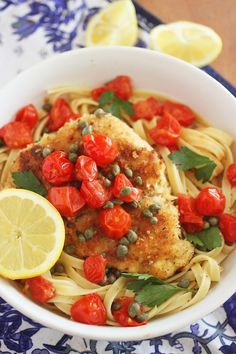 The light, lemony butter-wine sauce and tomatoes make this chicken scallopini easy but elegant, and irresistibly good!   thecomfortofcooking.com