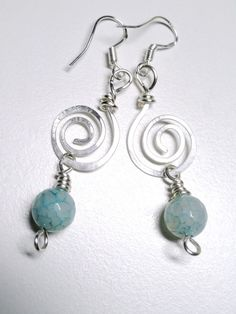 'Aqua Fire Dragon Agate Silver Spiral Earrings' is going up for auction at  4pm Wed, Feb 20 with a starting bid of $5.