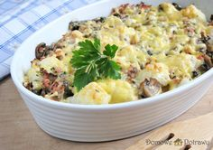 Prosta zapiekanka kalafiorowa • Domowe Potrawy Potato Salad, Potatoes, Ethnic Recipes, Food, Potato, Essen, Yemek, Eten, Meals