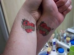 Do you want to express your love in a unique way? You can try Valentine's day tattoos. Find complete collection of love, heart and love message tattoos. Couple Name Tattoos, Couple Tattoo Heart, Couple Tattoo Quotes, Small Couple Tattoos, Small Tattoos, Tribal Tattoos, Tattoos Skull, Love Tattoos, Tatoos