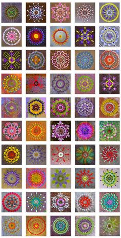 "Something: Kathy Klein's dānmālā. ""In her native Arizona landscape, Kathy Klein follows the meditative practice of giving flower circles."" From her about page, she describes her art as -- ""In vedic sanskrit dān: the giver, mālā: garland of flowers the giving of flower circles."" Rangoli Patterns, Rangoli Designs, Flower Rangoli, Flower Garlands, Mandala Art, Mandala Pattern, Mandala Design, Indian Art, Photography Flowers"