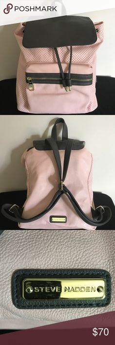 Steve Madden blush pink backpack Gently used Steve Madden blush pink and grey backpack. Slight blue staining from my jeans on back side of pack but not noticeable while wearing Steve Madden Bags Backpacks