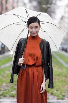 Zhang Xin Yuan - Street style at Milan fashion week autumn/winter '14/'15