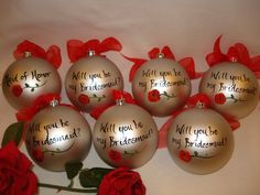Hand Painted Personalized Will you be my Bridesmaid  Wedding Ornament  - GIFT BOXING AVAILABLE. $23.00, via Etsy.