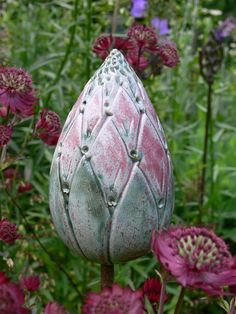 """Pflanzen- & Gartenstecker - Gartenstecker """"Knospe"""" rosa-grün - ein Designerstück von Brigitte_Peglow bei DaWanda"""