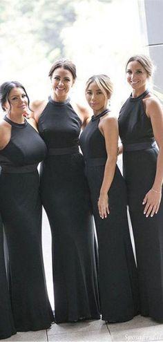 Elegant Sexy Black Halter Backless Mermaid Long Bridesmaid Dress, BD3100 #bridesmaiddress #maidofhonordress #bridesmaiddresses #2021bridesmaiddress #2021bridesmaiddresses #2021wedding #maidofhonoroutfit #maidofhonordresses #weddingguestdresses #weddingguestoutfit #longbridesmaiddresses #blackbridesmaiddresses #formalbridesmaiddresses Maid Of Honour Dresses, Maid Of Honor, Formal Bridesmaids Dresses, Wedding Dresses, Party Guests, Backless, Mermaid, Sexy, Maid Of Honour