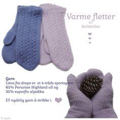I dag ble jeg ferdig strikket med et par til av Varme fletter i Gråblå 6235. De støvrosa 3145 har jeg strikket tidligere. Nå har jeg forsø... Mittens, Ravelry, Gloves, Threading, Fingerless Mitts, Fair Isle Knitting, Loom Knit