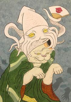 #art #illustration #japan #cat #Watercolor #squid #猫 #イラスト #日本画 #烏賊 Illustration, Fictional Characters, Illustrations, Fantasy Characters