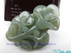 Free shipping  Hand carved  Natural dark green  jade by jadeGift, $26.99