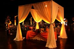 Open top pavilion | Champagne Uplighting w battery operated ultra-bright light #weddings #MidlandTX