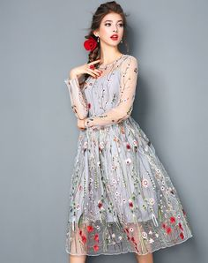 Shop DDER Gray Illusion Floral Embroidery A-line Midi Dress online❤ VIPme.com offers quality A-Line Dresses from fashion designers at affordable prices.