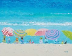 Beach painting beach art beach umbrellas seascape by JanMatsonArt