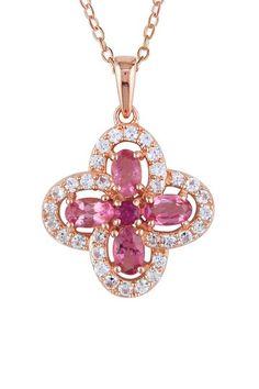 Pink Tourmaline & White Sapphire Pendant Necklace
