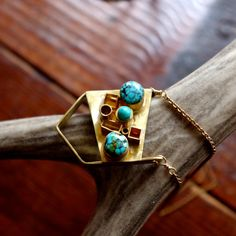 One of a Kind // Brass and Turquoise by beachbonesjewelry on Etsy