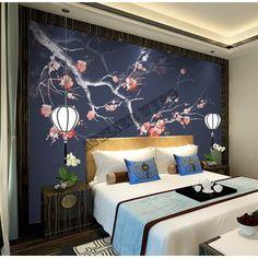 Décoration d'intérieur zen style japonais - Les fleurs Mei sur fond bleu foncé