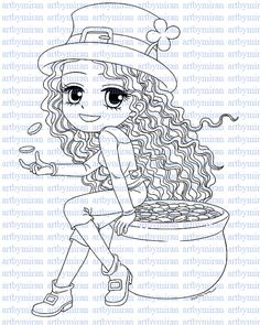 Digital Stamp-Lucky Lucy Digi Stamp Coloring page by artbymiran