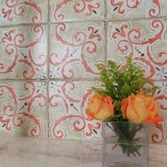 like the tile pattern not he coral color for your kitchen