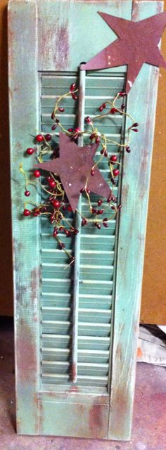 FREE SHIPPING.  Distressed wooden shutter Any by VeraJanesGifts, $20.00