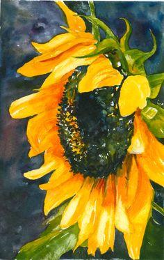 "Artist: Elaine Ferdinandi, Title: ""Kerry's Sunflower"". ......from my friend's garden in September"