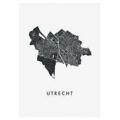 Kunst In Kaart Utrecht - Stadskaart Poster - Wit Utrecht, Map, Cards, Posters, Netherlands, House, Design, Products, Kunst