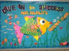 Ocean Themed Science Back To School Bulletin Board Idea I want to do this!!! What do you think @Toni Coates Fish Bulletin Boards, Library Bulletin Boards, Science Bulletin Boards, Back To School Bulletin Boards, Summer Bulletin Boards, Science Boards, Preschool Bulletin, Bullentin Boards, Preschool Art