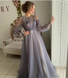 Long Sleeves New Arrival Tulle Long Modest Gray Prom Dresses with Appliques, Prom Dress Hijab Evening Dress, Hijab Dress Party, Dress Prom, Muslim Prom Dress, Sleeved Prom Dress, Muslim Evening Dresses, Evening Gowns, Prom Dresses Long With Sleeves, Formal Dresses