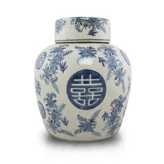 Ceramic cremation urn with floral accents and Chinese symbolism.Double Happiness is symbolic of eternal love. This memorial urn is ideal for paying tribute to a significant other.Liquid adhesive to seal the urn is provided. Cremation Urns, Blue Design, Japanese Art, Biodegradable Products, Porcelain, Pottery, Vase, Ceramics, Celebrities