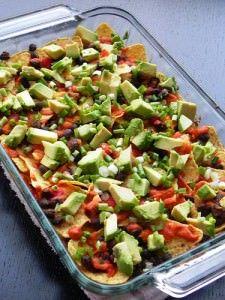 Healthy Loaded Black Bean Nachos by Chef Amber Shea Healthy Black Bean Recipes, Vegan Dinner Recipes, Veggie Recipes, Mexican Food Recipes, Whole Food Recipes, Vegetarian Recipes, Healthy Recipes, Raw Recipes, Clean Recipes